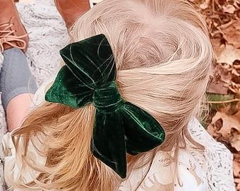 "U CHOOSE | Big Velvet 4.75-5"" Hair bow forest Green clip baby girl grosgrain hairbow headband Mustard toddler  Medium Bows"