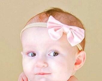 SALE Pink Nylon bow, headband set 1 size fits all, comfy baby newborn girls hair, bow