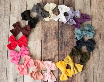 "SET of (15 or 10) 4.75"" Cotton Bows, U choose Big pinwheel knot hair bows clips, Large pack of girls hairbows"