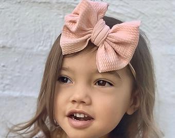 Medium Bow 17 COLORS, black, White, Pink, aqua, plum, skinny Nylon Bow Headband. Baby and big girl, newborn , toddler, Head wrap fabric