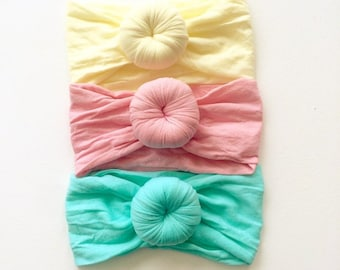 SET of (3) TURBANS Head wraps Bows, Fabric cotton knot headbands, Large pack of girls hairwraps  pink aqua ivory nylon
