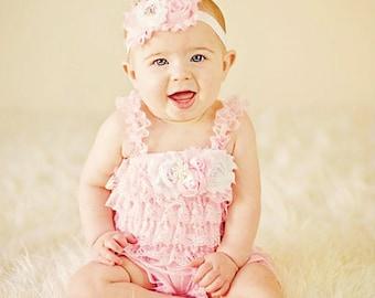 1b08b415b Petti Romper Headband SET, Pink Lace romper & baby headband, hair bow,  outfit, pettiromper girl
