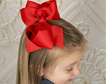 "U CHOOSE Big 6"" Hair bow baby girl grosgrain hairbow headband toddler newborn Large Bows"