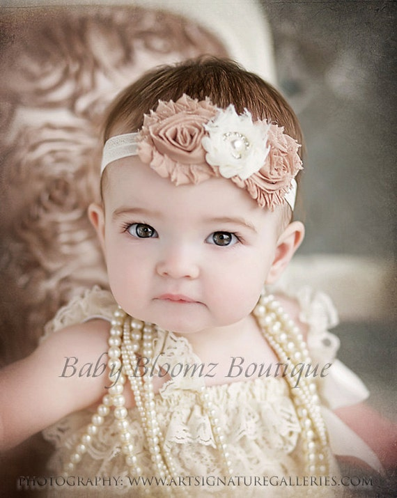 Beige and Plum Headband Flower Girl Headband Beige Hair Bow Plum Baby Headband Ivory Headband Newborn Headband Fancy Headband