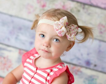 Pink floral Chiffon hair bow Headband  vintage hairbow baby headband fabric knot bow