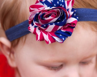 4th of July Headband Independence Day shabby baby girl  Red, White, and Blue America