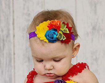 Rainbow Baby Headband Colorful Bright headband  birthday Girl shabby baby bow hair bow