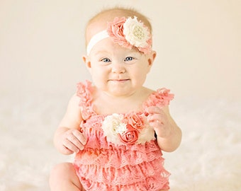 Petti Romper Headband SET,  Coral Peach Lace romper & baby headband, hair bow, outfit, pettiromper girl