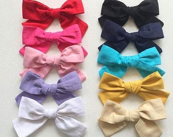 """SMALL 10 BOWS or 5 Bows 3.5"""" medium Cotton Bow, Fabric Hair bow 4 girls  on Clip, pinwheel knot bow, pink,white, black, red, ivory, mustard"""