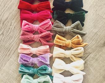"SET of( 12) 5"" Velvet Bows,  Big pinwheel knot hair bows clips, Large pack of girls hairbows"