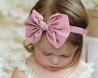 Vintage Pink Chiffon hair bow Headband  vintage hairbow baby headband fabric knot bow