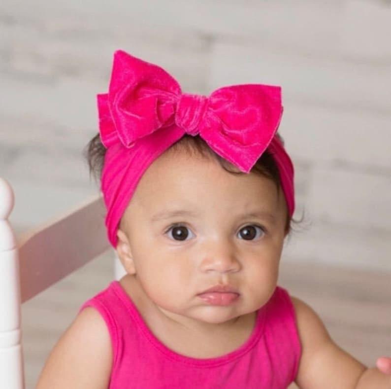 Hot Pink velvet head wrap bow