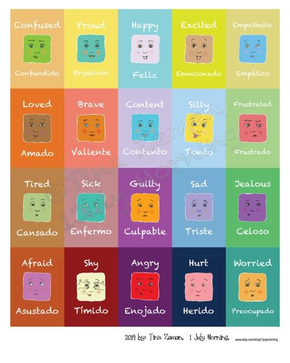 Large English Spanish Emotion Poster 16 X 20