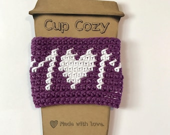 Ready to Ship/Mom Cup Cozy/Coffee Sleeve/Reusable/Crochet/Dk Purple/White/Eco Friendly Gift/Mother's Day