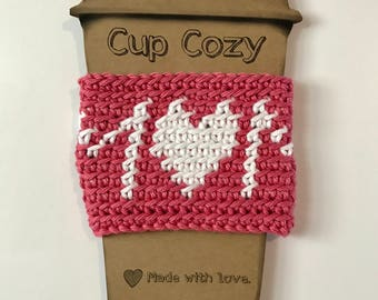 Ready to Ship/Mom Cup Cozy/Coffee Sleeve/Reusable/Crochet/Pink/White/Mothers Day