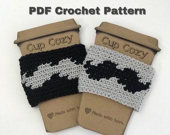 PDF Crochet Pattern/Mustache Cup Cozy/Coffee Sleeve/Reusable/Father's Day