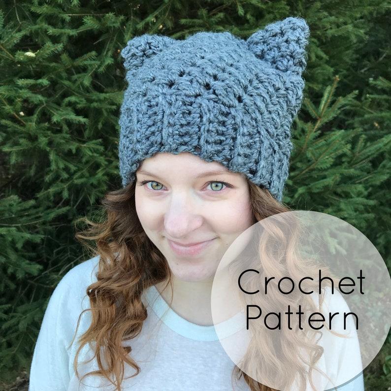 d4235d16c48 PDF Crochet Beanie Hat Pattern Cozy Winter Hat Cat Ears 3