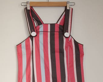 Vintage Pink Striped Pinafore Jumper Mini Dress with Pockets