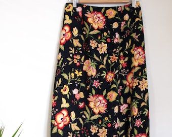 Vintage Floral Paisley Buttoned Wrap Around Maxi Skirt