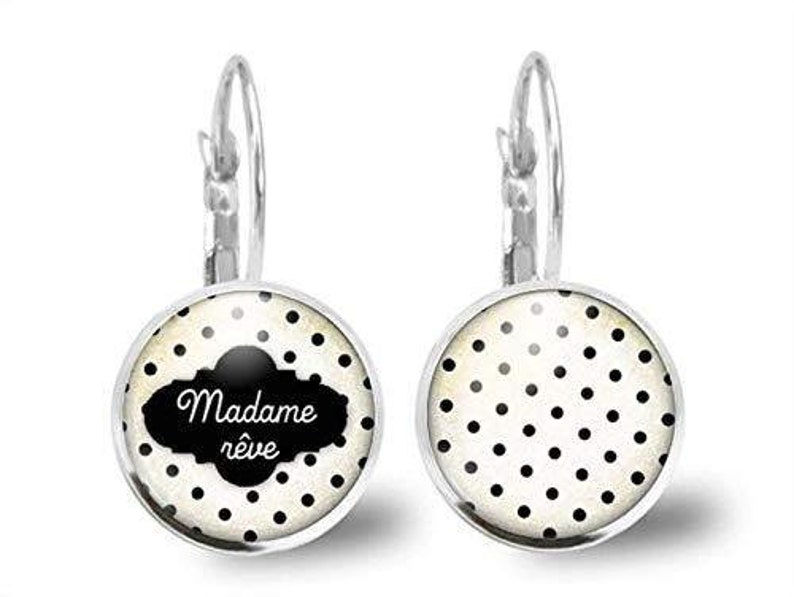 Woman Christmas Present Earrings Cabochon Cloud Valentine/'s Day ref.40a Antique Silver Woman Birthday Dreammadame R\u00eave B