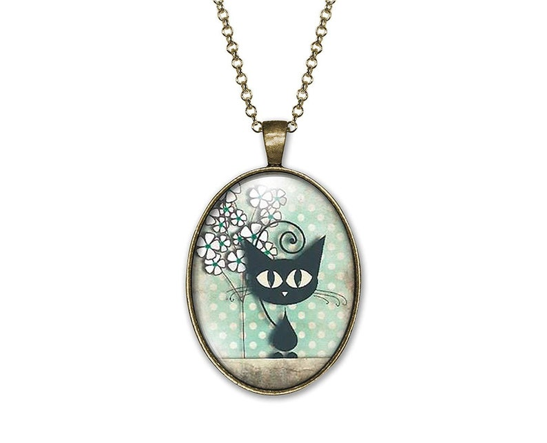 Woman Birthday Valentine/'s Day ref.50 Bronze Woman Christmas Present Necklace Cabochon Catthe Cat And The Dots