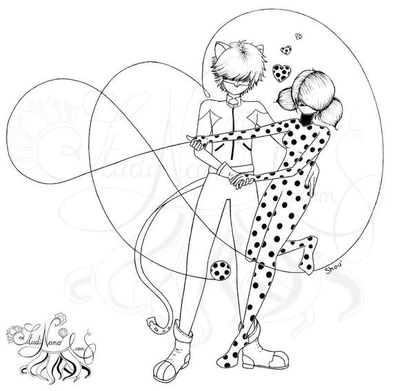 Coloriage ladybug et chat noir line art illustration - Chat noir dessin ...