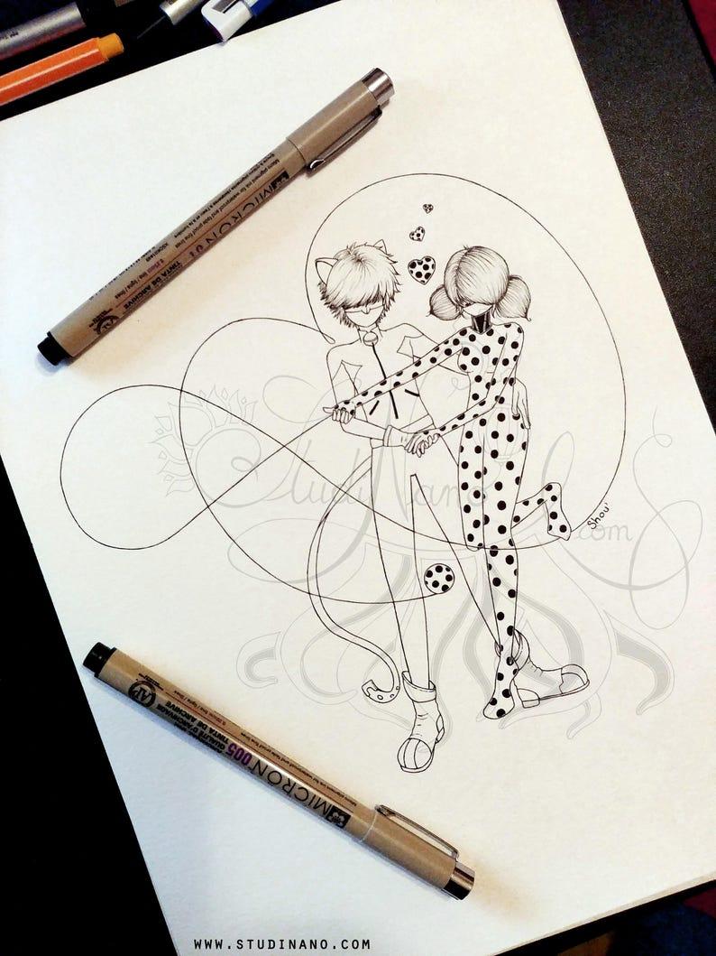 Coloriage En Ligne Ladybug Et Chat Noir.Coloriage Ladybug Et Chat Noir Line Art Illustration Etsy
