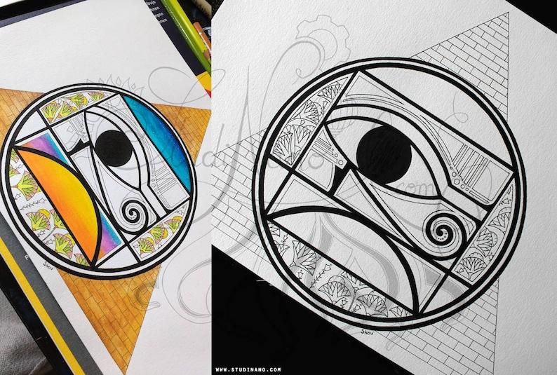 Coloriage En Ligne Egypte.Coloriage Symbole D Egypte Line Art Illustration Etsy