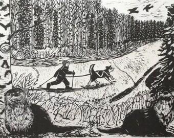 gOtta Skijor: Original Woodcut