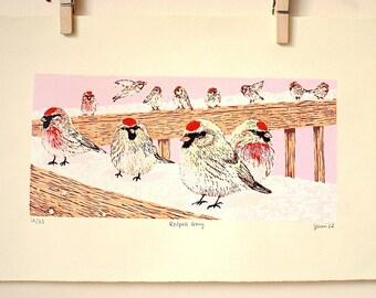 Redpoll Gang: Original Woodcut Print