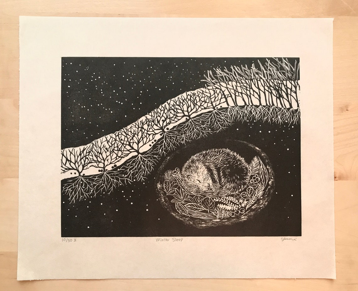 Original Woodcut Winter Sleep image 0