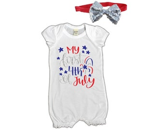 baby girl - baby romper - 4th of july - baby girl clothes - bodysuit - infant - my first - girls - my first