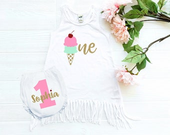 ice cream - 1st birthday outfit - girl - ice cream birthday - first birthday - ice cream outfit - 1st birthday girl - cake smash outfit