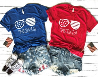 4th of July - 'merica - shirt - women - american flag - plus size - tank top - 4th of July - graphic tee