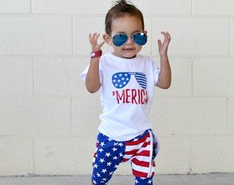 tshirt - 4th of July - american flag - bodysuit - toddler - merica - kids - shirt - unisex