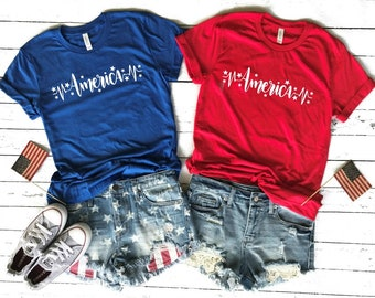 4th of July shirt women - american - tank top - women  - 4th of July - graphic tee - plus size