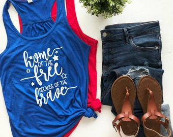women - 4th of July - tank top - shirt - plus size - fourth of july - graphic tee - home of the free