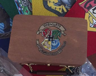 Mini suitcase hogwarts inspired harry potter inspired hand painted wooden box suitcase fun gift