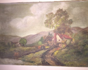 R. Eicher listed 19th cent landscape artist oil on canvas original by a NJ artist