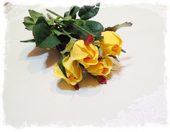 4 yellow rosebuds silk rosebuds yellow roses artificial etsy image 0 mightylinksfo