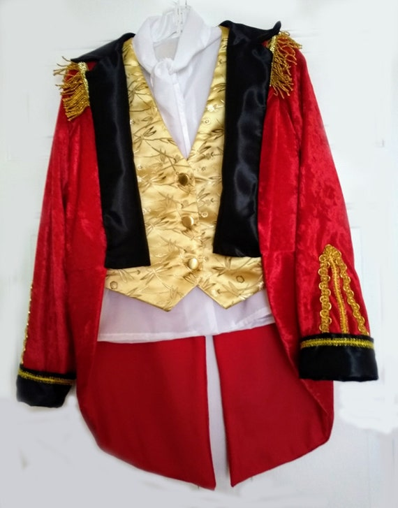 Circus Ring Master Greatest Showman Costume Gold Vest White Etsy