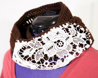 Fashion Infinity Scarf, Uniquely Blended, Off-White Lace and Brown Yarn Crocheted, Made for me, The Dainty Hook