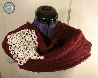Uniquely Blended Lace Infinity Scarf, Flower, Velvet, Wine Colored, Fine, Delicate, Crochet, Motif, Contrast, Stylish, Gift, Spring