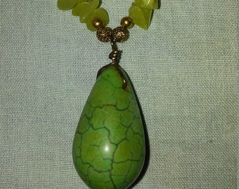 Olive green teardrop necklace