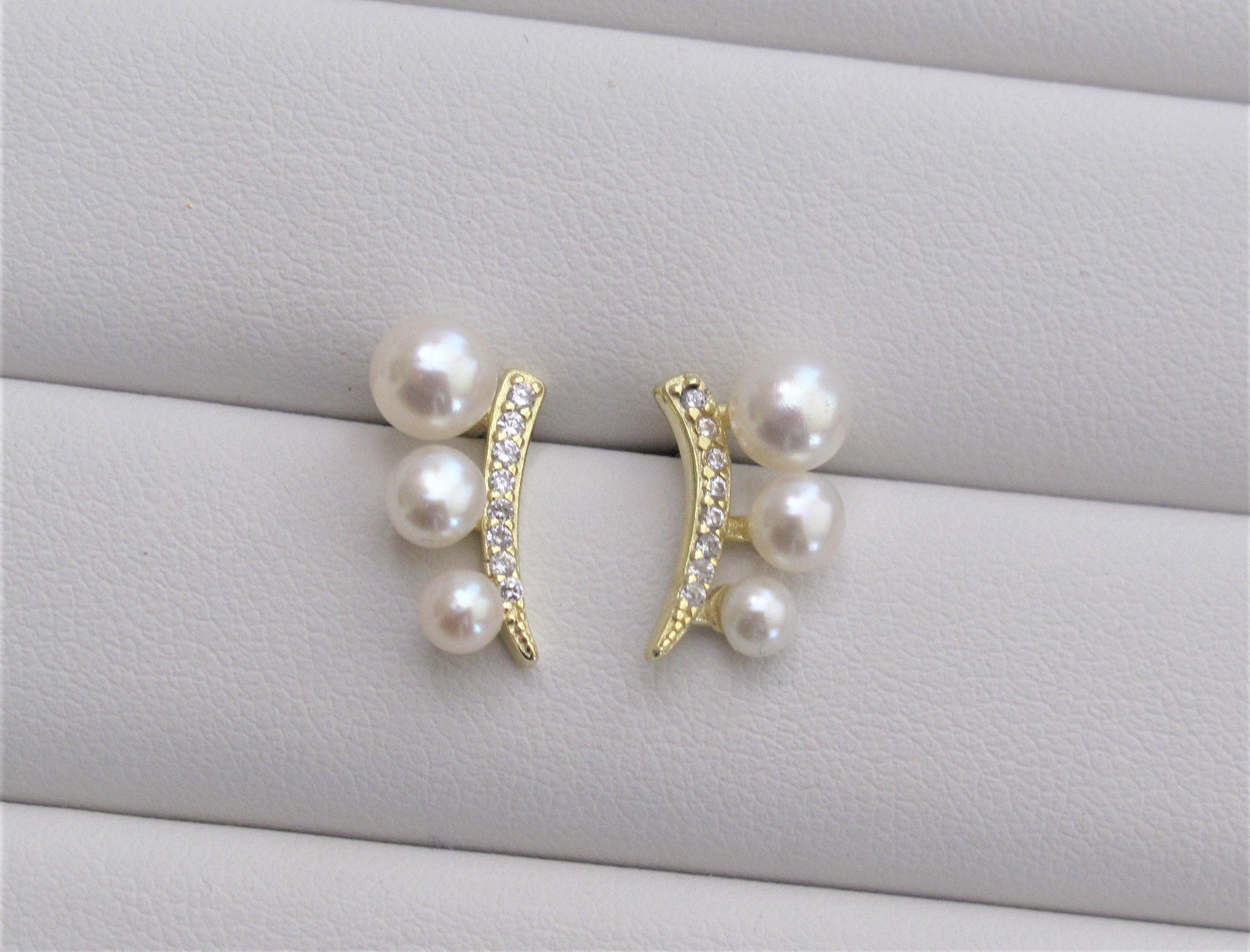 11-12mm white Baroque pearl earrings 18k ear stud Chic Cultured AAAA Flawless