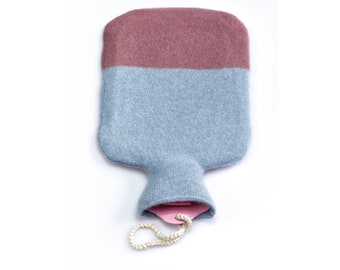 Hot water bottle dressed in pure cashmere! bellywarmer, pain relief, relaxing, muted rose and greyblue, wintertime, lounge, luxury