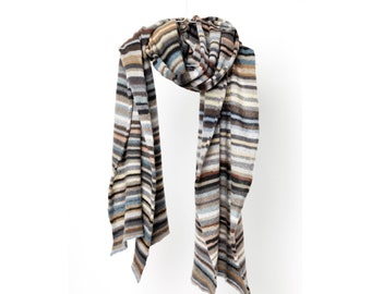 """Pure Cashmere wrap """"Natural"""", smooth natural shades, striped scarf, grey brown, taupe, mousegrey, earth, caramel, antrazit, creme, offwhite"""