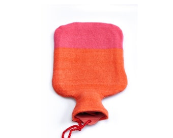 Hot water bottle dressed in pure cashmere! bellywarmer, pain relief, relaxing, bright pink and orange red, wintertime, lounge, luxury