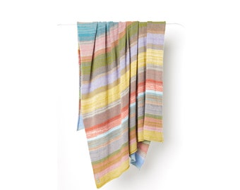 Plaid*05 - 100% Cashmere, warm and juicy colour palette, corn, orangered, turquoise, offwhite, grass, lavender, grey, caramel, nude, blossom