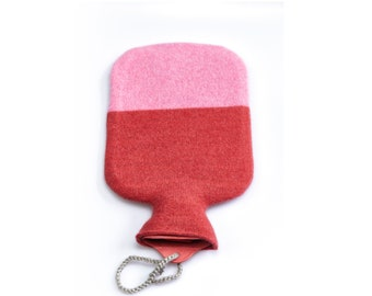 Hot Water Bottle dressed in pure Cashmere! bellywarmer, pain relief, relaxing, soft red and creamy pink, wintertime, lounge, luxury